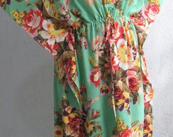 maternity kaftan robe, MINT, cotton kaftan, feeding gown,hospital gown, maternity robe,delivery gown,floral kaftan