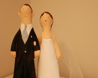 Wedding couple paper mache, cake topper, handmade figurines