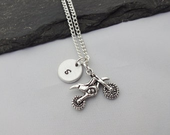 Initial Motorcycle Necklace, Motorcycle Necklace, Dirt Bike Necklace, Initial Necklace, Motocross Gift, Dirt Bike Gift, Motorcycle Gifts