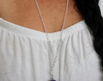 Sapphire Blue Druzy Pendant Necklace