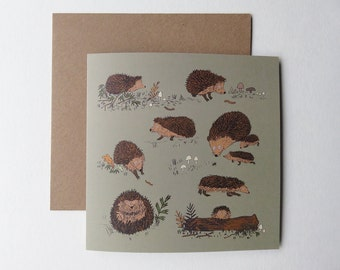 Hedgehogs - illustrated greetings card - hedgehogs print - woodland card - wildlife drawing - animal notelet card