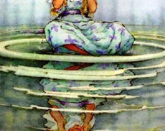 Alice's Adventures in Wonderland Print by L. Carroll Print is The Pool of Tears illustration Vintage Art Perfect Gift For Nursery,Child Room