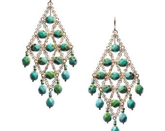 Green Chandelier Earrings, Turquoise Chandelier Earrings, Dangle Earrings, Cluster Earrings, Statement Earrings, Boho Chandelier Earrings