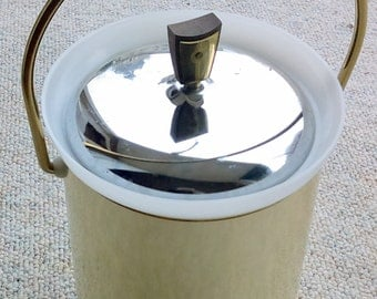Vintage Ice Bucket Kromex Mid Century Modern Bar Ware Aluminum with Brass Handle