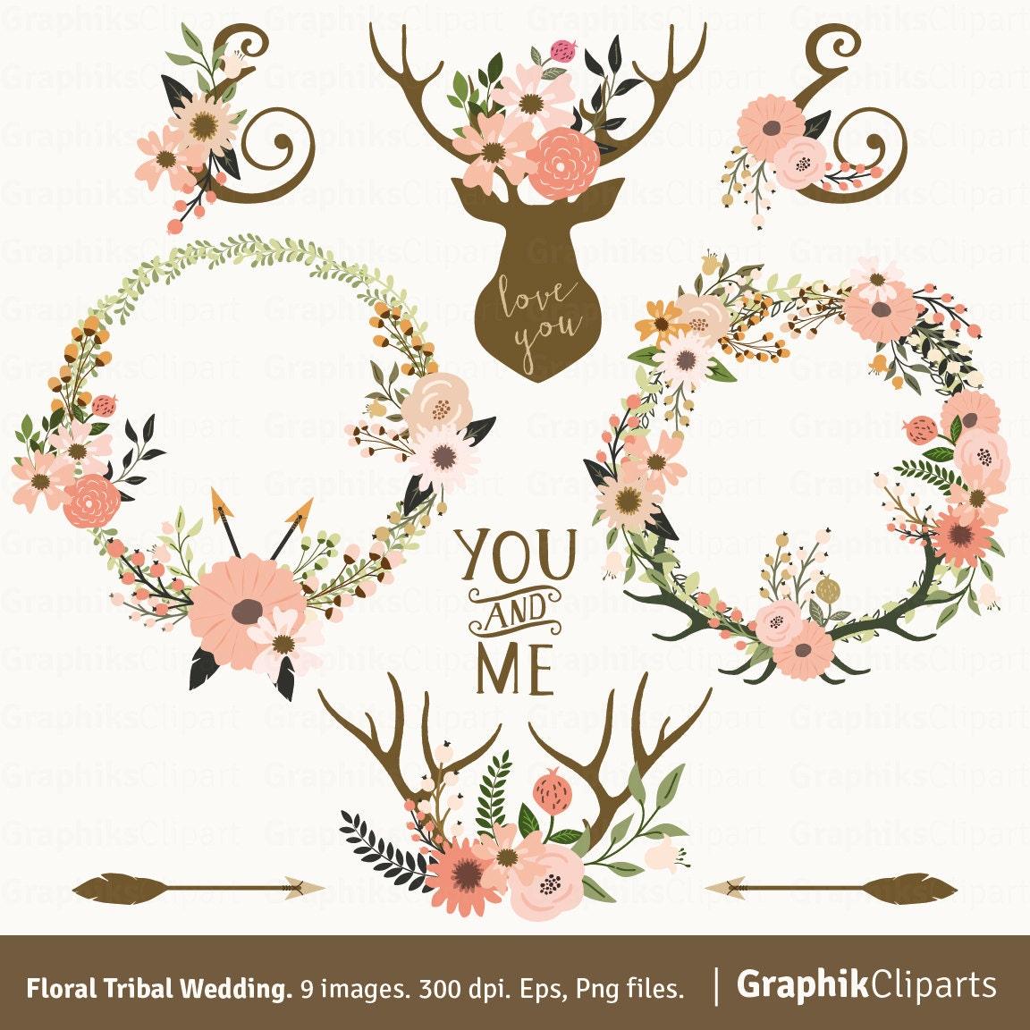 Floral Tribal Wedding Clip Art Deer Horn Rustic