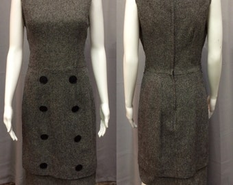 Vintage 1960's Sleeveless Gray Tweed Shift Dress
