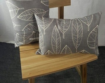 Neutral Grey with leaves cushion pillow cover 30x40cm