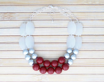 Christmas Holiday Necklace Jewelry, Cranberry Red & Silver Bead Statement Necklace, Chunky Festive Red White Winter Christmas Party Necklace