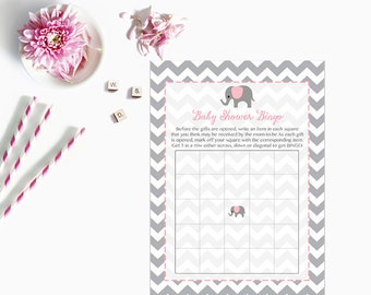 Pink Elephant Baby Shower Bingo Cards, Elephant Baby Shower Bingo Card, Grey Gray Chevron Instant Download  Printable227