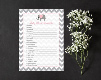 Pink Elephant Word Scramble Baby Shower Game, Elephant Baby Word Scramble Shower Game, Gray Grey Chevron Instant Download Printable227