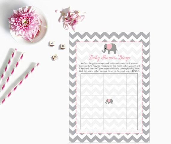 pink elephant baby shower bingo cards elephant baby shower, Baby shower invitations