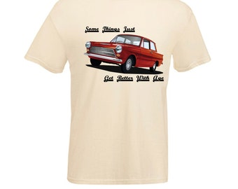 Vintage Red Ford Cortina MK1 Car  Things Get Better with Age Printed T Shirt