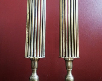 Vintage Set of 2 (Pair) Brass Retro Mid Century Hollywood Regency Industrial Style Candlestick Candle Stick Candle Holders