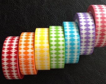 WS7:  24 Inches Washi Tape Samples, Diamond Shape, Various Colors, Planner Decorations, Scrapbooking, Card Making