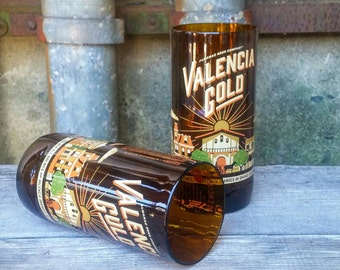 Pint Glasses From Upcycled Valencia Gold Belgium Pale Ale Craft Beer Bottles - Set of Two