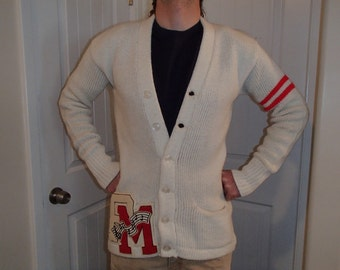 60's LETTERMAN sweater varsity music BAND university vintage knit cardigan jumper MENS small