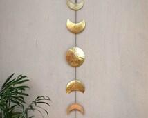 Moon Phases Wall Hanging Brass Full Moon Wall Decor Moon Wall Art - Moon Child - Lunar - Moon Mobile