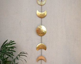 Moon Phases Wall Hanging Brass Moon Wall Decor Full Moon Wall Art -  Moon Mobile - Moon Child - Lunar