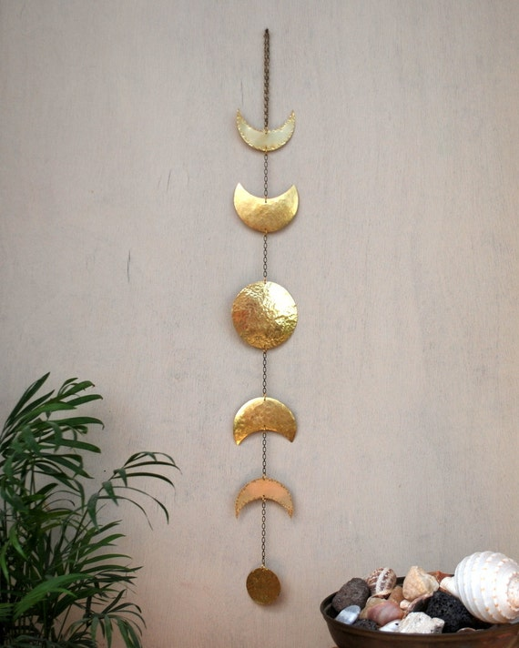 Moon Phases Wall Hanging Brass Moon Wall Decor Full Moon Wall