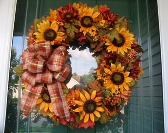 Sunflower Wreath. Fall Wreath