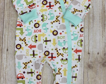 One piece sleeper - baby boy one piece creeper - boy sleeper - footed sleeper - footed coverall -coming home outfit - newborn coverall