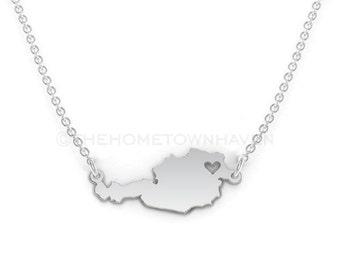 Austria Necklace - Austria charm necklace, Austria map necklace, I love Austria