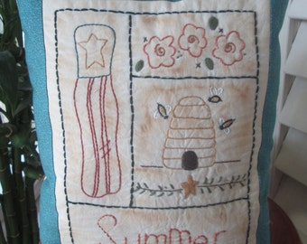 SALE:Embroidered Pillow , Summer Sampler Decorative Pillow , Embroidered Room Decoration