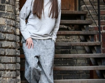 Loose Melange Harem Linen Pants  // Drop crotch gray pants // Summer pants // Yoga pants // Linen trousers / Wide linen pants