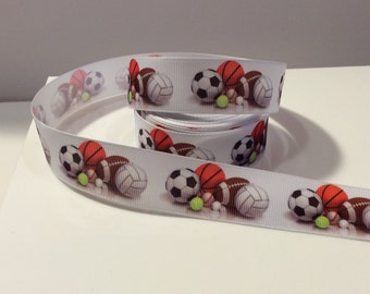 """7/8"""" Football-Basketball- Soccer- Baseball- Volleyball-Sport Theme-Grosgrain Ribbon by Yard-Hairbow-Scrapbook-DIY-Trim-Party-Party Supplies"""