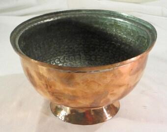 Vintage Hand Hammered Turkish Copper Bowl Planter from Turkey