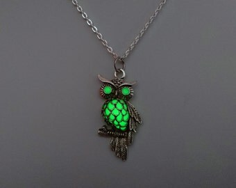 Green Glowing Owl Necklace - Owl Pendant - Bird Jewelry - Bird Necklace -  Birthday Gift - Gifts For Her - Teen Gift