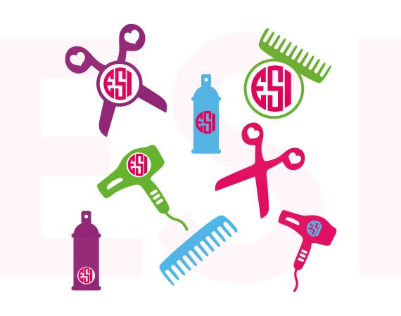Hair Stylist Monogram Designs Svg Dxf Eps Vinyl Cutting