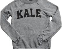 Kale Sweatshirt - Kale Maniac Sweatshirt - Kale Jumper - Retro Flawless Music Tumblr - Off the Shoulder Sweatshirt - Eco Grey Kale Top- S-XL