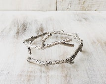Silver Branch Bangle, Twig Bracelet, Upper Arm Bracelet, Branch Bracelet, Organic Jewellery, Boho Bangle, Silver, Adjustable, lalaboho