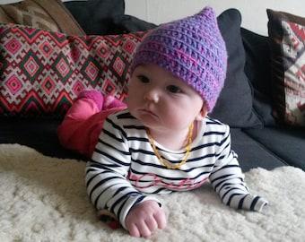 baby pixie hat  3 - 8 months/gnome/Faerie/Fairy/Pixie/elf/hippie/festival/pink/pointed HAT!
