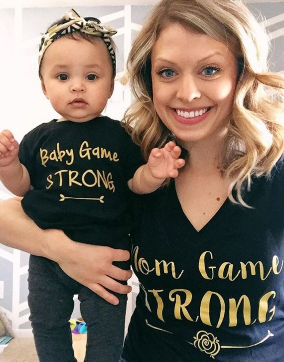 Black with gold mom game strong tee //women's tee // mom tshirt // mom shirt