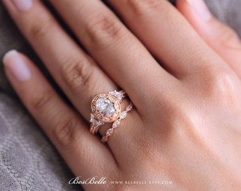Art Deco Bridal Set Ring-Oval Cut Diamond Simulant-Engagement Ring W/ All or Half Eternity Ring-Rose Gold Plated-Sterling Silver [65039RG-2]