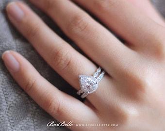 330 cttw milgrain art deco ring art deco bridal set ring pear - Teardrop Wedding Ring