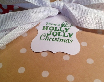 Holly Jolly Christmas Gift Tags/Wine Tags - Green and White - Set of 6