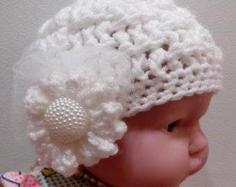 Baby Girl Hat, Crochet Baby Hat, Warm Hat, Photo Prop, White Hat, Fit 3-6 months