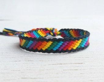 Braided gay pride bracelet, Rainbow LGBT lesbian friendship bracelet, Best friend gift, Knotted macrame bracelet, Hippie and boho bracelet