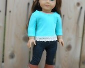 Blue/Turquoise Tee Shirt with Three-Quarter Sleeves, Lace Trim, and Pocket for American Girl Dolls