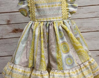 Floral-Yellow and Gray-Girls Party Dress-Back To School-Cotton Blend-