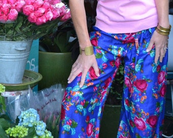 Blue cotton pyjamas / pajamas / lounge pants with pink roses and red patterned trim