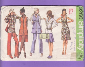 1970s Mod Long Vest, Top, Pants/ Simplicity 9266 Zipper front, V Neckline, stand up collar blouse Uncut Sewing Pattern/ Size 10 Bust 32.5
