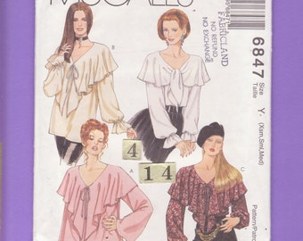 Loose, Wide Ruffled V neckline Top, Blouse/ McCall's 6847 Womens Front tied, Peasant, Pirate Blouse UnCut Sewing Pattern Size 4 6 8 10 12 14