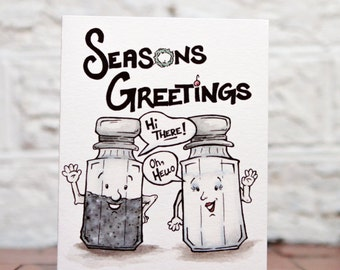 Funny Holiday Card, Cute Christmas Card, Seasons Greeting Pun, Seasonings Pun Card, Holiday Pun Card, Salt Pepper Funny, Holiday Gift