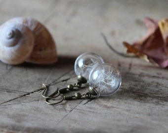 Dandelion earrings, dandelion seed earrings, make a wish, nature earrings, glass earrings