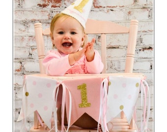 First birthday hat - birthday party banner -pink and gold party hat - photo prop - first birthday - hat and banner - gold polka dot party