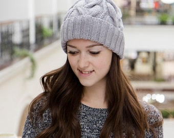 Gray Knit Beanie For Women - Wooly Hat - Knitted Beanie Hat - Women's Winter Hat - Womens Beanie -Cable Knit Beanie - Christmas Gift For Her